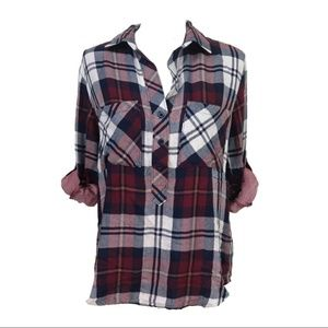 NWOT Anthro Cloth & Stone Red Plaid Popover Shirt